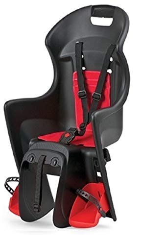 P4B | Fahrrad Kindersitz - Gepäckträgermontage hinten in Rot/Schwarz | Für Fahrräder mit 26-28 Zoll | Kinderfahrradsitz für Kinder mit 9 Monate bis 5 Jahre - von 9 bis 22 Kg
