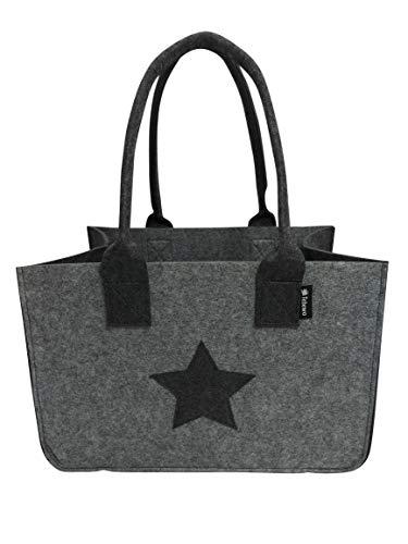 Tebewo Shopping Bag aus Filz, große Einkaufs-Tasche mit Henkel, Einkaufskorb, Faltbare Kaminholztasche zur Aufbewahrung von Holz, vielseitige Tragetasche, Farbe grau mit Stern