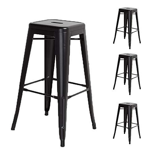 KOSMI - Set di 4 sgabelli da bar in metallo nero opaco, altezza media degli sgabelli 66cm