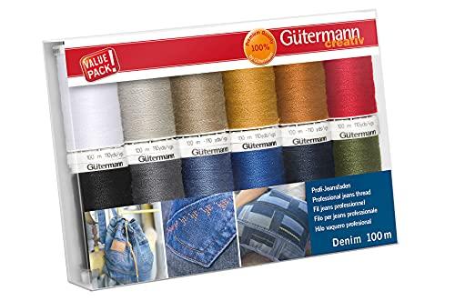 Gütermann creativ Set di 12 bobine di filo da cucito professionale Denim 100 m nei tipici colori jeans