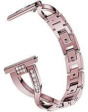 XIALEY Cinturino in Metallo Compatibile con Fitbit Versa 2/Versa/Versa Lite, Banda Polso da Donna Cinghie Orologio di Ricambio in Acciaio Inossidabile con Strass Compatibile con Versa