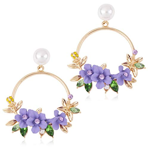 N / A Nigoz Flower Drop Earrings Artificial Pearl Flower Garland Dangle Hoop Earrings Female Flower Dangle Earrings, Purple Convenient and Practical Practical and Cost-Effective