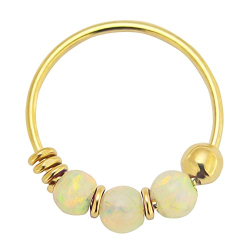 9K Gelb Gold dreifach weisser Opal Perle 22 Gauge Hoop Nasenring Nase Piercing