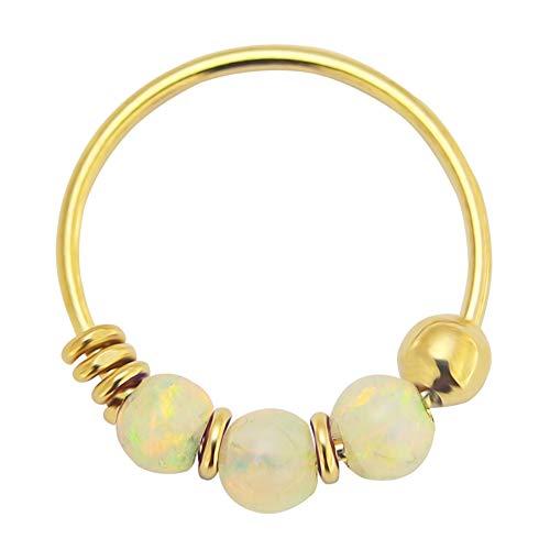 AZARIO LONDON 9K Solid Yellow Gold Triple White Opal Bead 22 Gauge Hoop Nose Ring Nose Piercing Jewellery