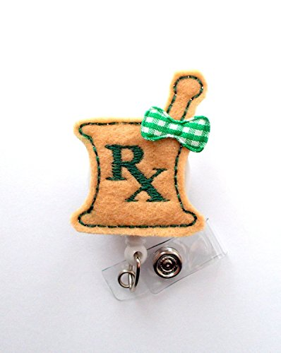 Rx Mortar and Hunter Green and Khaki with Bow - Rx Badge Holder - Pharmacy Badge Clip - Pharmacist Badge Reel - Pharmacist Gift - Pharmacy Assistant- Alligator Clip