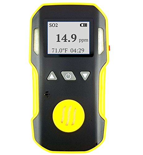 Sulfur Dioxide Detector by FORENSICS | USA NIST Calibrated | USB Recharge | Adjustable Sound, Light & Vibration Alarms | 0-20ppm SO2 |