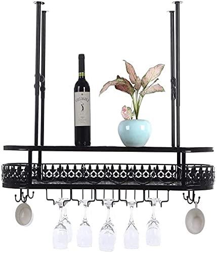SDKFJ Botelleros Estantes para Vino, Estante para Vino con Vaso y Soporte para Tazas, Almacenamiento de exhibición de Botellas de Vino Colgantes para gabinetes de Cocina de Bar 0814