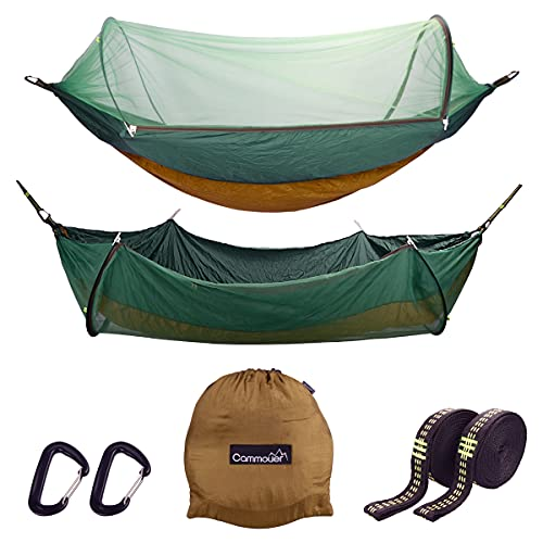 Cammouer Camping Hammock for Trees Portable Hammock with Net Parachute Fabric Travel Bed for Hiking Camping