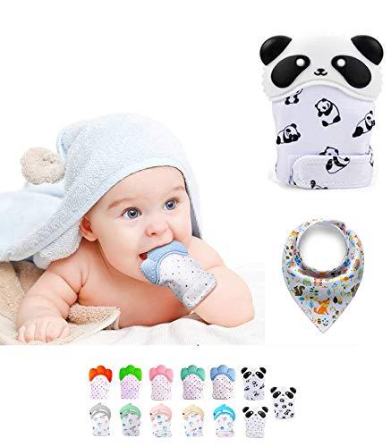 Funky Planet Guantino in Silicone per Bebè, Guanto di Dentizione, Lenitivo del Dolore, Protegge le Mani dei Bambini dai Morsi + MORBIDO BIB (Paw) (Panda)