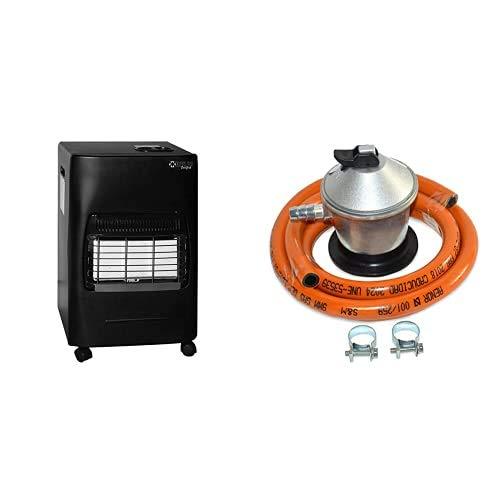 Kekai Kt0524 - Estufa De Gas 4200W 20 M² 42X38X73 Cm + S&M 321771 Regulador de Gas Butano Goma M + 2 Abraz, Gris Naranja, 1,5 metros de tubo