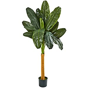 Nearly Natural 6' Banana Artificial Silk Trees, Green