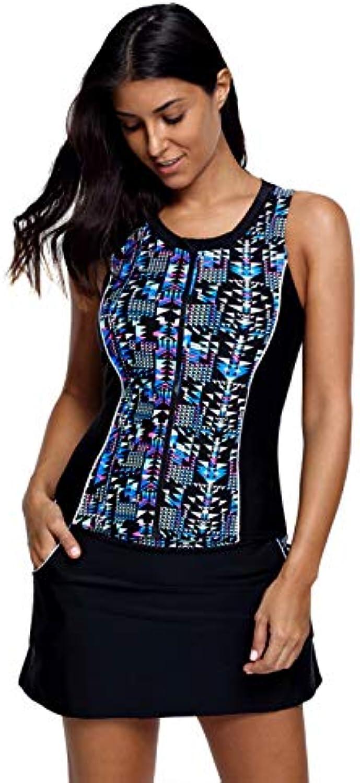 LXKDYYY Printed Round Neck Sleeveless Slim Bikini Without Steel Ring Gathered high Waist Skirt Split Swimsuit