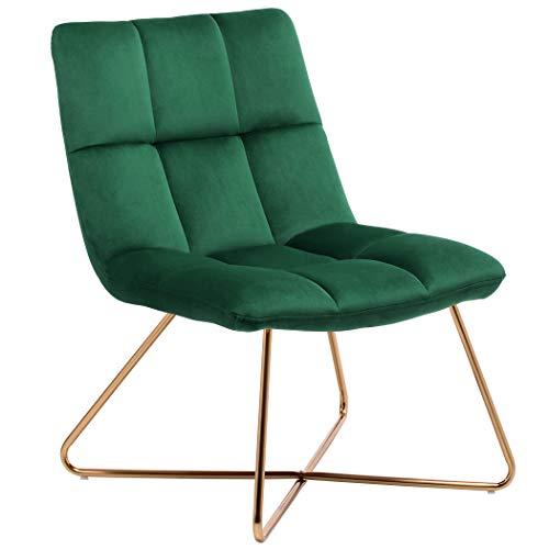 Duhome Sessel Stuhl Gestell Golden gesteppt Lounge Sessel Polsterstuhl Lehnstuhl 8098, Farbe:Dunkelgrün, Material:Samt