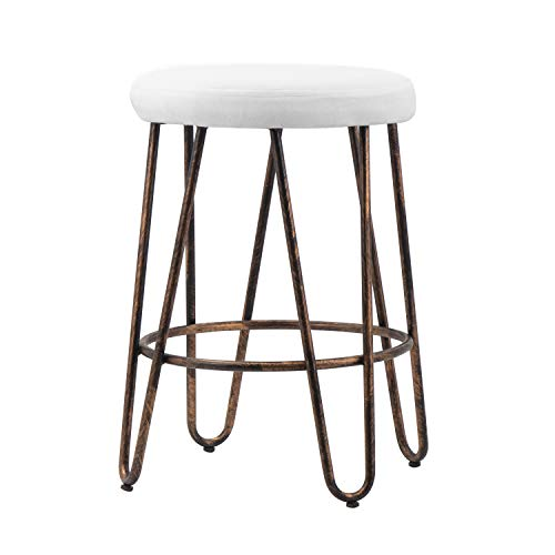 CANDIKO White Round Makeup Vanity Chair Velvet Upholstered Metal Stool Bedroom Iron Room Bench Bathroom Ottoman with Footrest Ring - Small