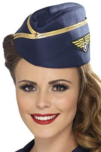 Stewardess-Mütze Blau mit goldenem Rand, One Size