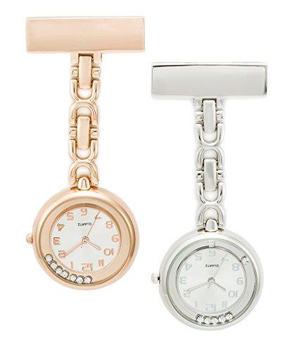 SEWOR Medical Staff Hängende Taschenuhr 2 Stück mit Lederbox Tolles Geschenk (Silber & Roségold Diamant)