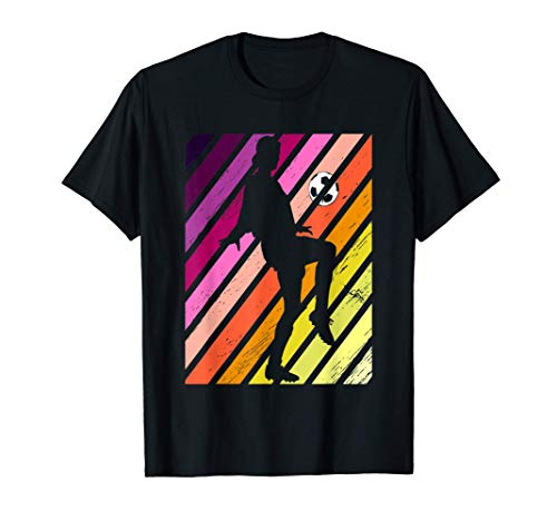 Fútbol Hembra Jugadora puesta de sol retro Camiseta