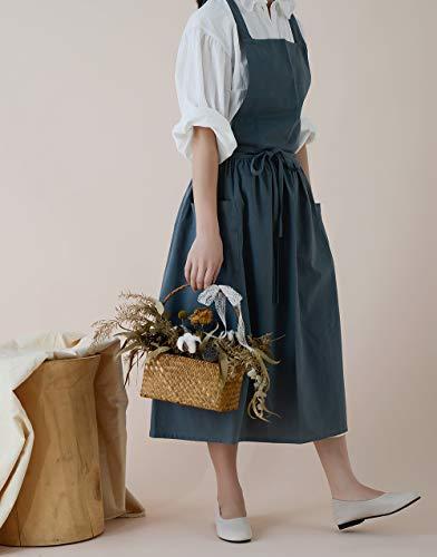 Delantal de lino de algodón Delantales impermeables de estilo japonés con bolsillos para cocina Cafe Flower Shop Smock (azul)