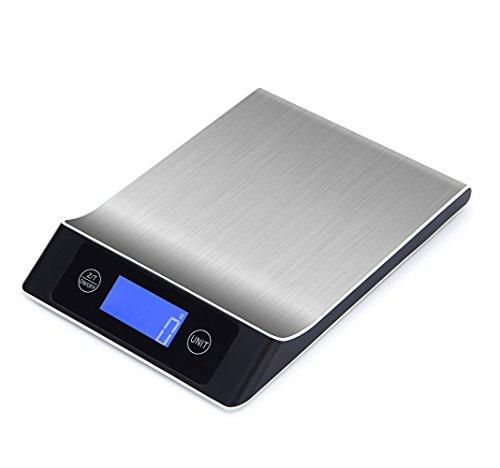 Digitale Küchenwaage,Professionelle Küchenwaage, Electronische Waage, Hohe Präzision auf bis zu 1g (5000g Maximalgewicht), Edelstahl, LCD-Display,Digitalwaage Inklusive Batterien