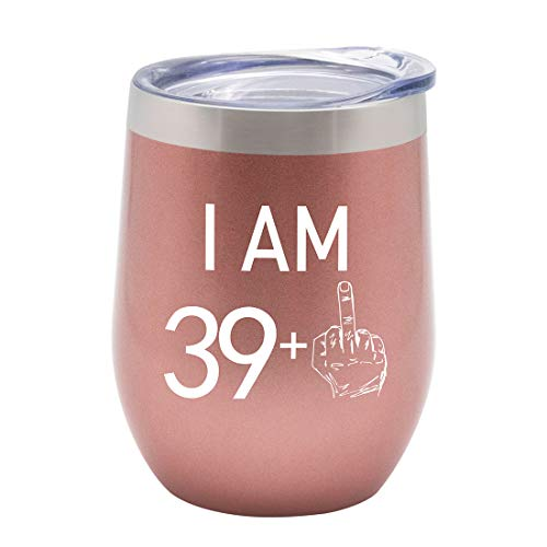 HDCOOL I Am 39 + 1 Middle Finger, Funny Wine Tumbler, 12oz Stainless Steel Vacuum Insulated Wine...