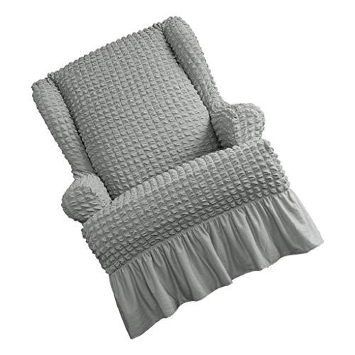 PETSOLA Sofabezug 1 Sitzer Sesselbezug Sesselschoner Sesselhusse Sesselschutz Sesselüberwurf für Ohrensessel Fernsehsessel - Hellgrau