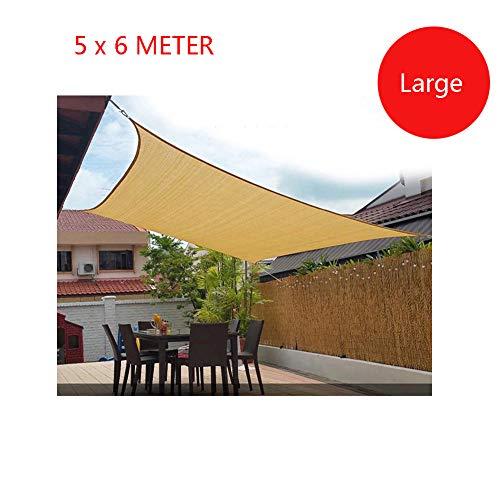 AZUOYI Grande Cool Area Toldo Vela de Sombra Rectangular 5x6 Metros protección Rayos UV, Resistente y Transpirable, Color Beige,Beige,5x6M