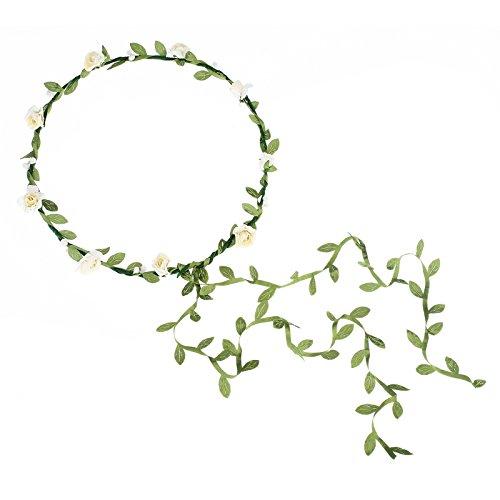 AWAYTR 2Pcs Fashion for Bohemian Style Wedding Bride Bridal Headdress Floral Flower Garland Headwear Headbands (Cream white)