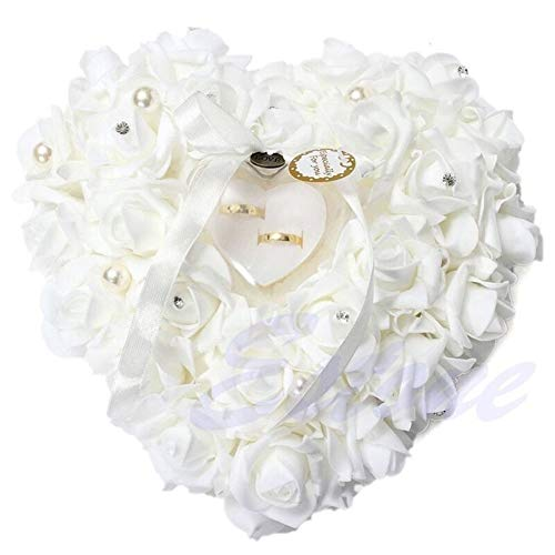 N\A Party Supplies Party Decoration DIY Decors Ring Pillow Cushion Heart Shape Ring Box Simulation Rose Flowers Jewelry Case 1 Pcs Party Birthday Party Supplies Value Party Kits