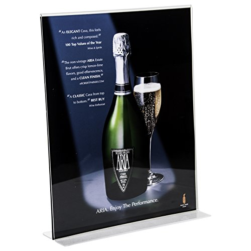 Clear-Ad - LHC-1114 - Double Sided Acrylic Upright Sign Holder 11x14 - Table Menu Card Display Stand - Plastic Picture Frame Wholesale (Pack of 15)