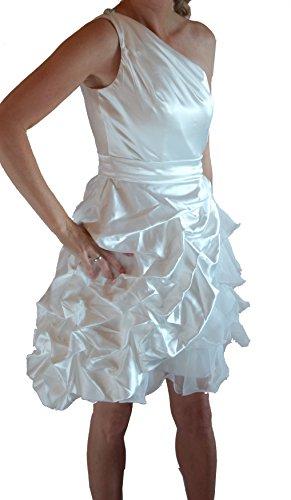 Brautkleid Wiesmoor trägerlos perfekt zum Standesamt/Oberteil mit One-Shoulder/mit Organza/Rock weit ausgestellt/Creme/Ivory Gr. 44