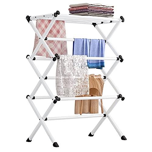 Fetcoi Tendedero plegable con 10 barras, para ahorrar espacio, tamaño grande, color blanco, 63 x 39 x 98 cm