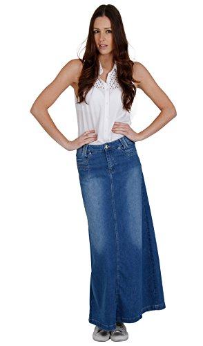 Falda Vaquera Larga Azul Stone Wash SKIRT35 Falda Vaquera de Mujer Maxifalda SKIRT35-UK 20