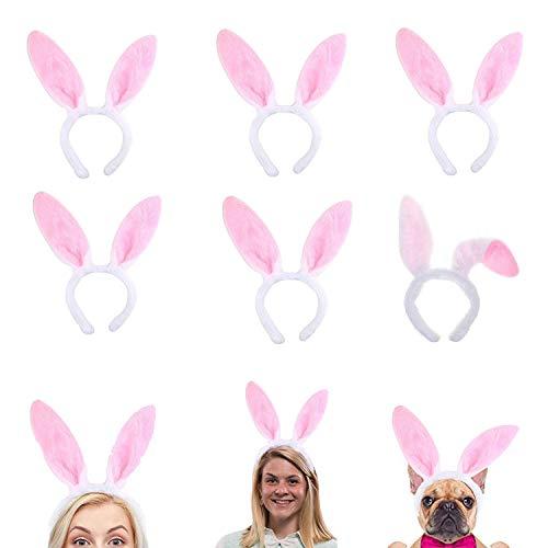 JOHOUSE Plush Bunny Ears, 6PCS Easter Bunny Ear Headband Spring Bunny Ear, for Easter Halloween Cosplay Party Favor