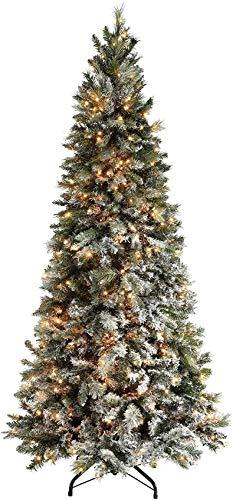 Vorbeleuchteter schlanker mit Schnee beflockter Fichten-Weihnachtsbaum mit warmen LED-Lichtern 100% feuerhemmenden PVC-Spitzen (Größe: 3 m)