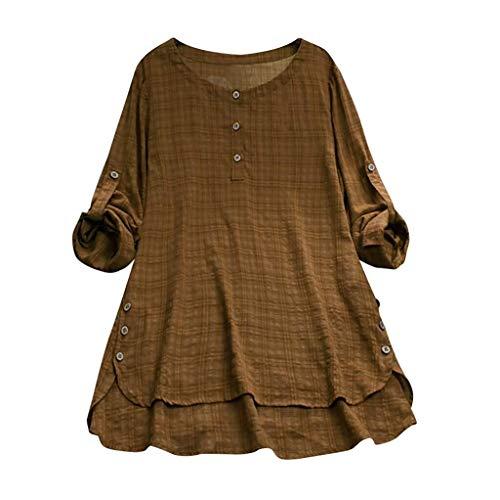 Adelina geruit shirt met lange mouwen voor dames, herfst, lente, zomer, elegante tops, oversized jurk, voor modieuze volle, korte achter, lange T-shirt, strand, vakantie, pullover
