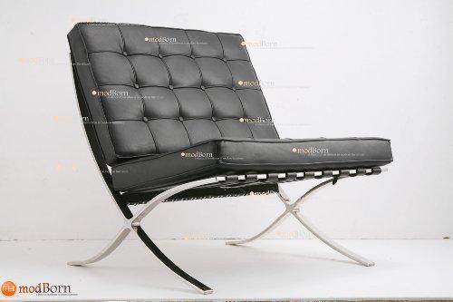 Ludwig Mies van der Rohe Barcelona - Poltrona in pelle anilina italiana, colore: nero