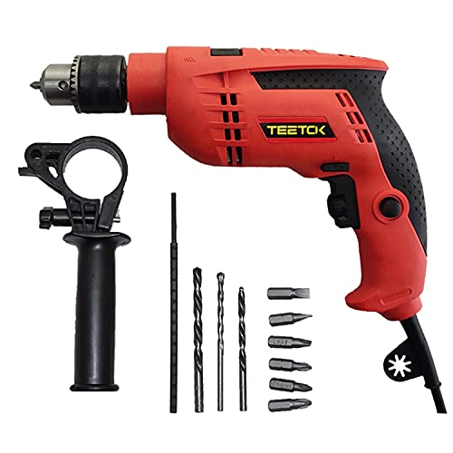 Hammer Drill Rotary Handle Hammer Drill 360° Variable Speed 0-3000 RPM 13mm Keyed Chuck 9 Pcs Accessories Set for Masonry Brick Steel Wood