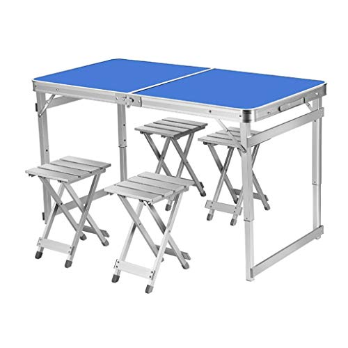 Portable Folding Table Portable Folding Table Writing Desk For Home Office Folding Desk, Folding Desks for Small Spaces, Foldable Table With Frame, Non-Slip Camping Picnic Tables (Color : Blue)