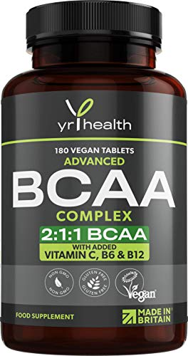BCAA Tablets 1500mg - 2:1:1 BCAAs Branch Chain Amino Acids L-Leucine, L-Isoleucine, L-Valine with Vitamin B6, C & B12 - 180 Vegan Tablets not Capsules - Made in The UK by YrHealth