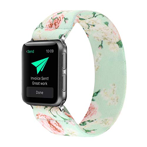 PENKEY Stretchy Band Compatible with Apple Watch Elastic Band 42mm 44mm Cute Pattern Soft Nylon Strap Replacement Wristband for iWatch Series 5/4/3/2/1 (Green Peony, 42mm/44mm Small Size)