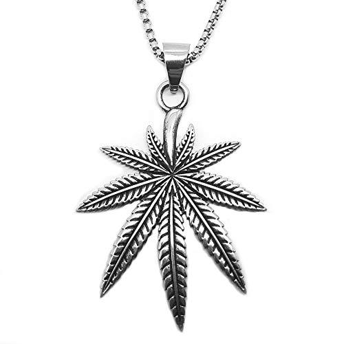 BOBIJOO JEWELRY - Sublime De La Hoja Colgante De Marihuana Cáñamo Cannabis Marihuana, Rastafari De Acero