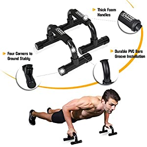 AB Wheel & Push Up Bar, Exercise Home Gym Equipment for 6 Pack Abs & Core Workout Roller - with Innovative Non-Slip Rubber, Extra Thick Knee Pad