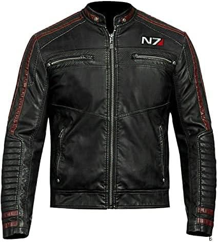 N7 Street Fighter Black Leather Jacket for Men - Cafe Racer Moto Leather Jacket for Men