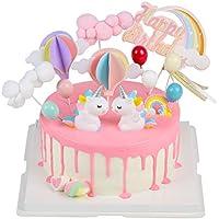 EKKONG Cake Topper Unicornio, Decoraciones de Pasteles cumpleaños 14 Piezas para la Fiesta de la Fiesta de Bienvenida al bebé cumpleaños niñas Niños (14 Piezas)