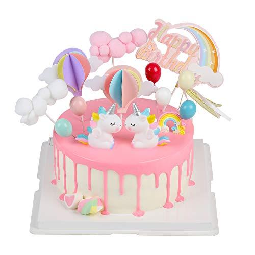 EKKONG Tortendeko Geburtstag, Cake Topper Einhorn Tortendekoration kuchendeko, 14er Set einschließlich Regenbogen, Ballon, Einhorn, Happy Birthday, Wolke für Kinder Geburtstag Baby Shower