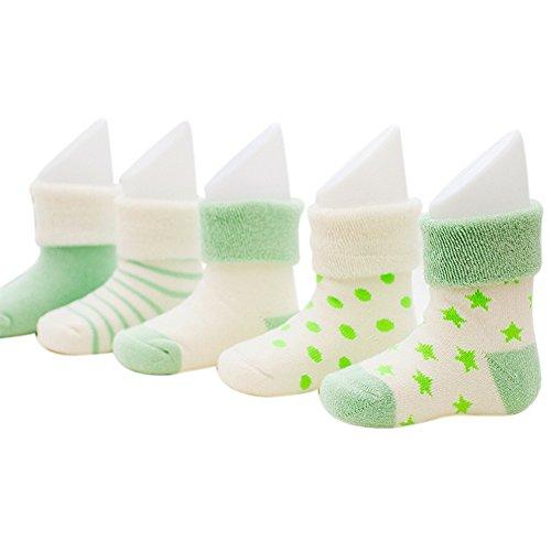 VWU Lot de 5 Paires Unisexe Bebes Infant Chaud et épais Chaussons Chaussettes de Manchette Camaïeu Rayées Nouveau-Nés Bébé Chaussettes en Coton (0-6 mois, vert)
