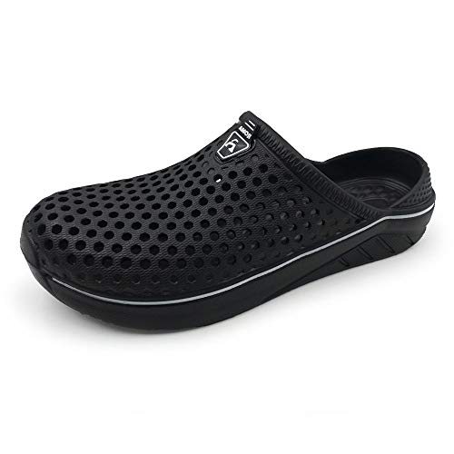 Amoji Women Crock Men Garden Clogs Slippers Indoor Shoes Sandals Shower Shoes Summer Breathable Light Women Ladies Y182 Black 14-15 M US Women/11.5-13 M US Men