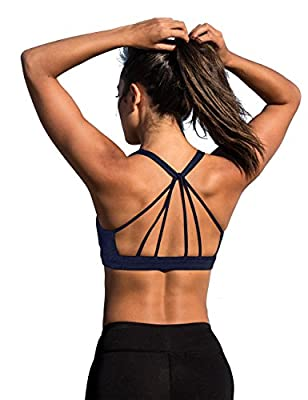 icyzone Padded Strappy Sports Bra Yoga Tops Activewear Workout Clothes for Women (L, Blueberry)