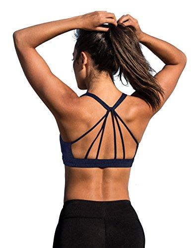 icyzone Yoga Sport-BH Damen Bustier mit Gepolstert - Atmungsaktiv Ohne Bügel Sports Bra Top (XXL, Blueberry)