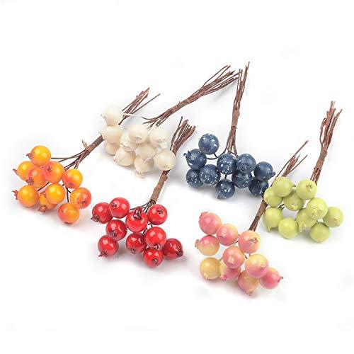 Trend R STORE Künstliche Blumen-Stamme Granatapfel Obstbeeren für Zuhause, Hochzeit, Dekoration, Weihnachtsbaum, Bastelzubehör 2 Farbmischungen